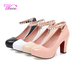 Ankle Strap Square High Heels Round Toe Party Shoes