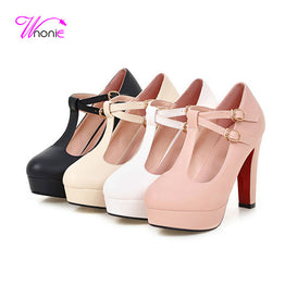T-strap Square Thick High Heel Round Toe Party Dress Shoes