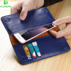 FLOVEME Retro Leather Wallet Phone Case for Samsung S7/S6/S5/iPhone 7/6/6s Plus/SE/5S/5