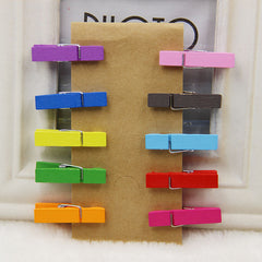 10 Pieces Mini Colored Spring Wood Clothes Clip