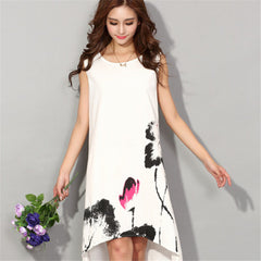 Women Dress 2017 Summer Vintage Sleeveless White Women Dresses Cotton Linen Dress C563