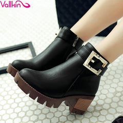 VALLKIN Fashion Zipper High Heel Women Platform Boots