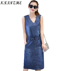 N.XINZHE Denim women 2017 Vintage Summer Sexy Sleeveless Casual jean dresses