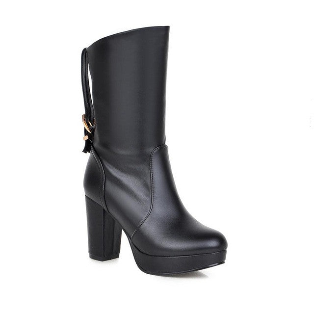 Fashion Square High Heel mid-calf Leather Motorcycle Boots