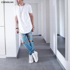 CHENXUAN Extended Kanye T-shirt Cotton Swag for Men