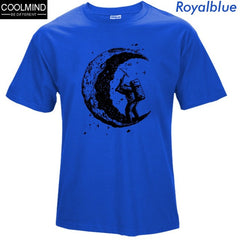 100% cotton digging the moon print casual mens o-neck t shirts 2017