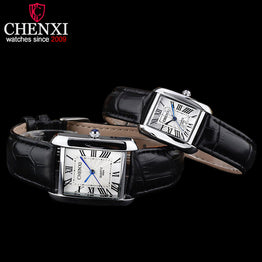 CHENXI Square Shape Leather Band Couple Watch