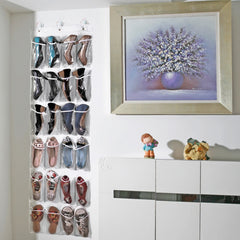 24 Pockets Non Woven Hanging Door Shoes Organizer