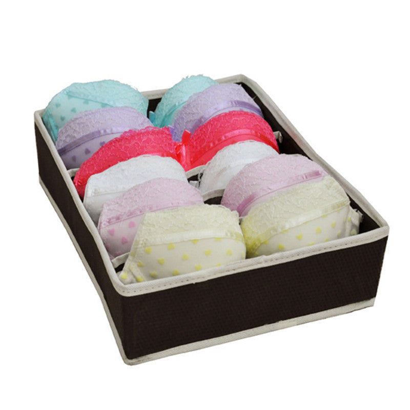 Foldable Storage Box Bra Underwear Organizer 6 Grids Non-woven Fabric Wardrobe Organizer For Underwear Socks Clothes