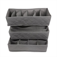 3 Pieces Foldable Underwear Storage Box