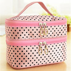 6 Colors Fashion Double layer small dots cosmetic bag makeup tool storage bag Free Shipping
