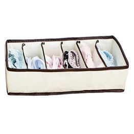 Fashion Beige 6 Grid Folding Storage Box Bag