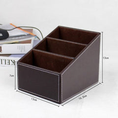 Europe Leather Wood 3 Layer Home Office Organizer Storage Box