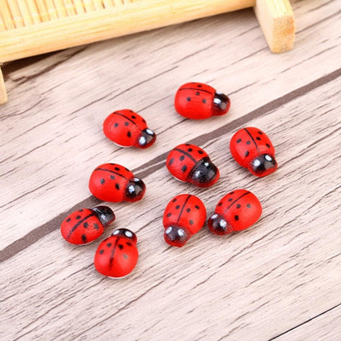 100pcs/Bag DIY Stickers Wood Ladybug Ladybird Sticker Adhesive Back
