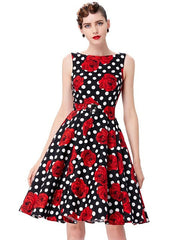 Belle Poque Print Floral 50s 60s Vintage Dresses robe Womens Clothing