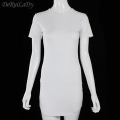 DeRuiLaDy Fashion Sexy Dress Women Round Neck Short Sleeve Summer Dress