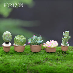 5Pcs/1 Set Lifelike Mini Artificial Fleshy Cactus Plant Real Touch Palm Bonsai Landscape Decorative Flower