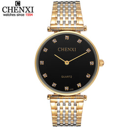 CHENXI Rhinestone Stainless Steel Rhinestone Couple Watch