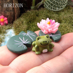 2016 Magic Fairy Garden Miniatures Cute Cartoon Anime Artificial Frog & Lotus Leaf & Flower 3Pcs