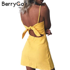 BerryGo Bow casual linen sexy dress Backless 2017 beach summer dress