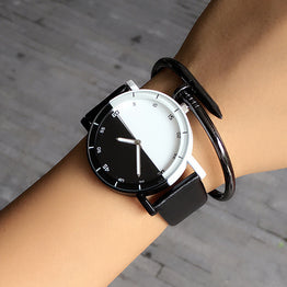 Casual Brand Waterproof Black White Couple Watch