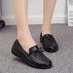 Women's black casual soft bottom shoes large size leather