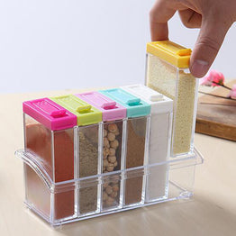 Kitchen Supplies 6pc's Transparet Plastic Seasoning Box Case