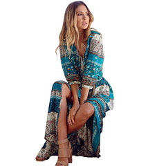 2017 new Bohemian printing long dress women maxi long dress