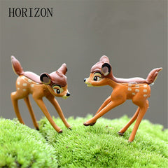 2pcs/lot Artificial mini sika deer fairy garden miniatures resin crafts figurines for home decoration
