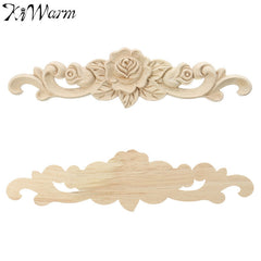 KiWarm Retro Vintage Unpainted Wood Carved Decal Corner For Wall Cabinet Door Decorative