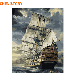 CHENISTORY Sailing Boat DIY Painting By Numbers Paint On Canvas For Home Wall Art 40x50