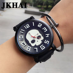 JKHAI Oversized Dial Skull Pattern Leather Band Couple Watch