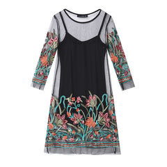 Summer Dress 2017 Boho Women Floral Embroidery Lace Mesh Dress Plus Size