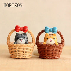 2pcs/set Cute Resin Crafts Decorations Miniature Cradle Cat Fairy Party Garden Gift