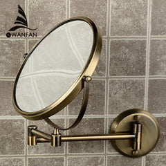"8"" Double Side Folding Brass Shave Makeup Mirror Antique Bronze Wall Mounted Extend"
