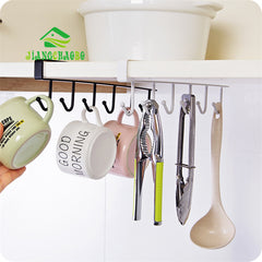 Iron Kitchen Storage Rack Cupboard Hanging Hook Shelf Dish Hanger