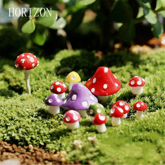 8 pcs/ Set kawaii Decorations Mushroom 1.3cm fairy garden miniatures Bonsai Plant Gardening