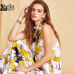 SheIn Womens Summer Long Beach Multicolor Floral Print Sleeveless Maxi Dress
