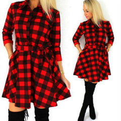 High Auality Casual Plaid Dresses Women's 2017 Spring Summer Dress