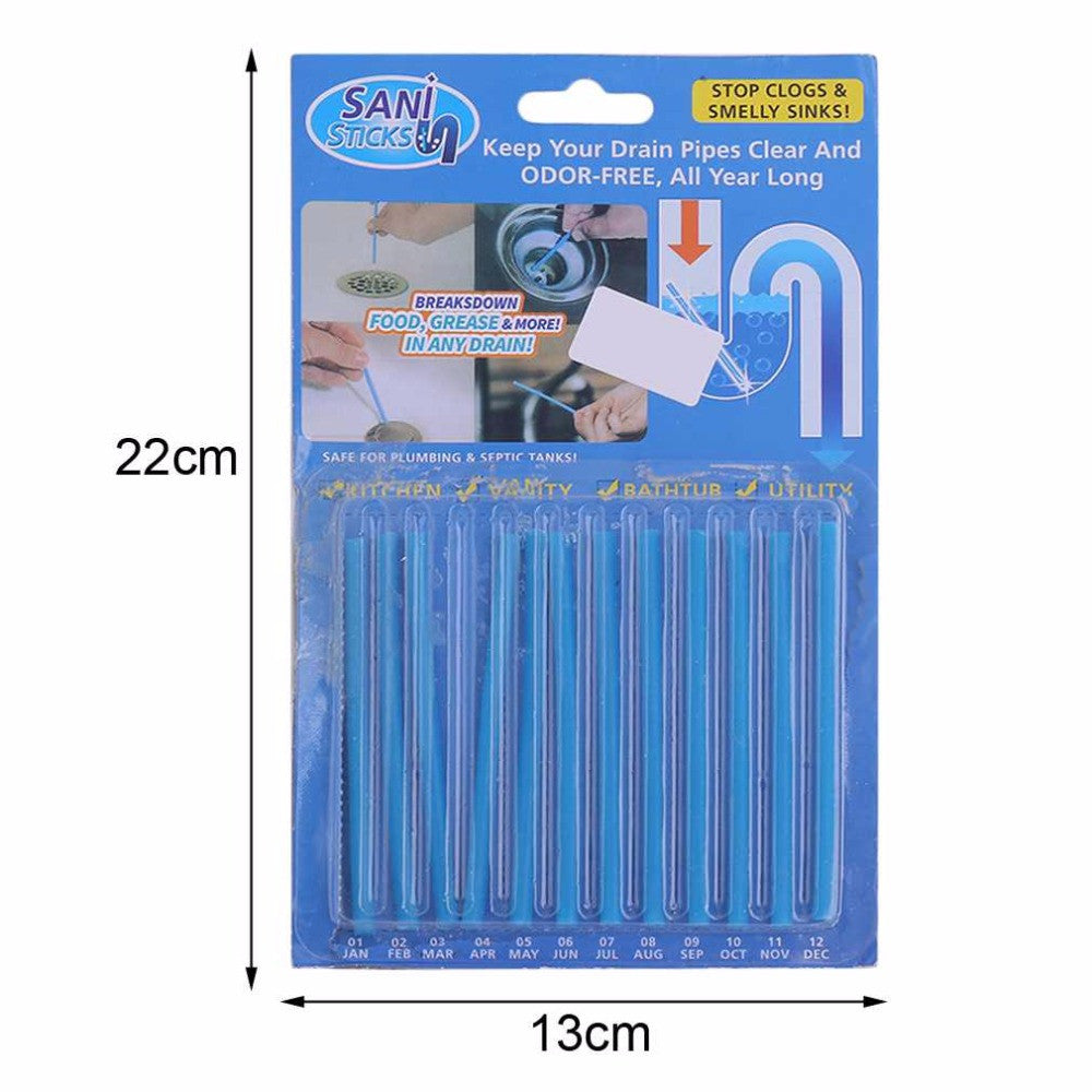 12pcs/set Blue Sticks Sewer Rod Drain Cleaner Sewage Decontamination To Deodorant Sewer Cleaning Tool