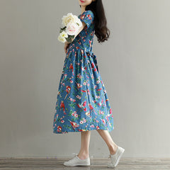 Mori Girl Short Sleeve Floral Print A Line Blue Color High Waist O Neck Cotton Linen Dress Plus Size