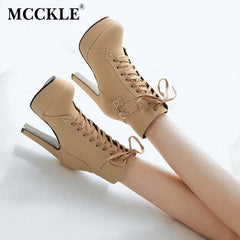 MCCKLE High Heel Leather Double Buckle Platform Women Boots