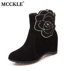 MCCKLE Fashion Elegant Flower design Height Increasing Wedges Casual Shoes