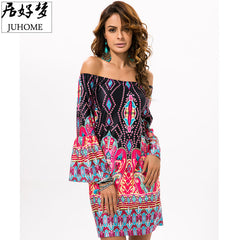 plus size Summer Boho Beach tunic dress women 2017 Off Shoulder Sexy Robe femme vestidos