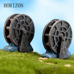 2 Pcs/lot Mini Vintage Waterwheel Miniature Fairy Garden Home Decoration