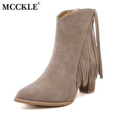 MCCKLE Tassels Casual Ankle Leather Boots