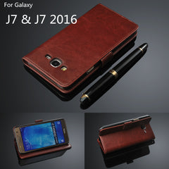 Bova Leather Wallet Flip with Card Holder Cover Case for Samsung Galaxy J7 2016/J710F/J710