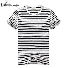 Men's T-Shirts Vantiorango Summer O-Neck Striped Tops Short Sleeve