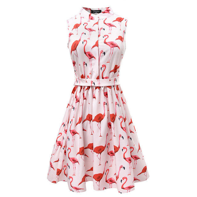 Summer dress 2017 Women flamingo Fun Flare Prints Casual High Waist Cute A Line Mini Dresses