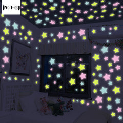 100 pcs /lot JWHCJ Creative Glow Star Wall Sticker diy home Decor
